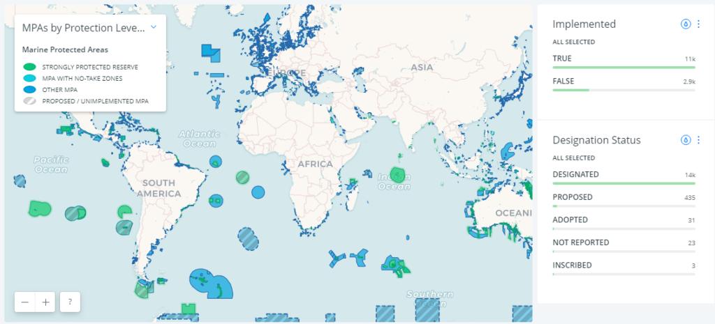 Karte Naturschutzgebiete Meeresschutzgebiete Meeresschutzgebiet weltweit Mittelmeer Atlantik Europa Pazifik